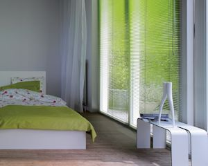 Bedroom blinds in green