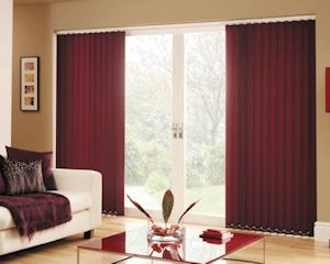 deep red vertical blinds
